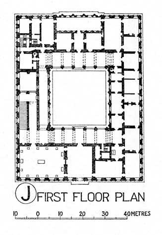 Gotik dönem mimari plan çizimi örneği.