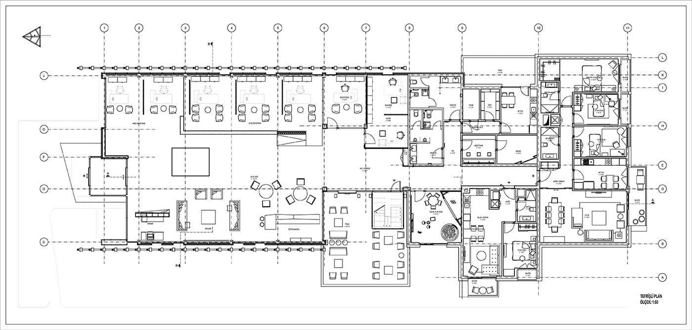 Mimari plan çizimi örneği.