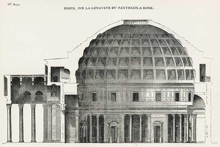 Oculus Pantheon kesit çizimi.